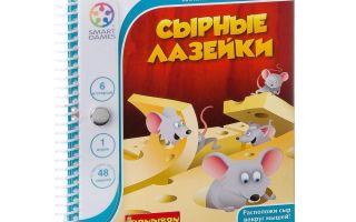 Настольная игра коробка Сырные Лазейки. Расположи сыр вокруг мышей.