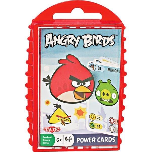 Настольная игра Angry Birds Power Cards упакована в пластиковую коробочку с ярким оформлением.